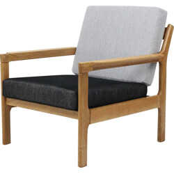 Armchair in oak and grey fabric - 1960s