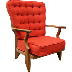 Vintage Votre Maison armchair in red wool, GUILLERME & CHAMBRON - 1970s