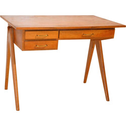 Mid-century Gaspar desk in wood with compass legs - 1950s