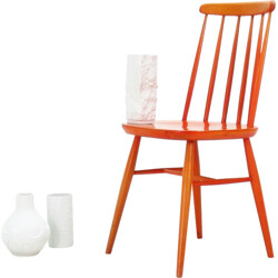 Bistrot vintage chair in orange lacquered wood - 1950s