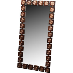 Swedish mid century rosewood  mirror with copper - 1960s