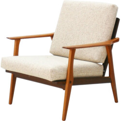Easy chair in teak and beige fabric - 1960s