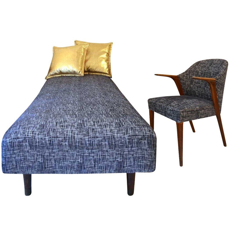 Set of Scandinavian daybed and armchair in black fabric - 1950s