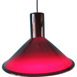 Mid century Danish hanging lamp in dark red glass - 1960s