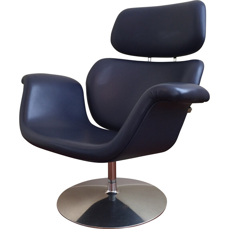 "Artifort ""Big Tulip"" armchair in dark blue leather and steel, Pierre PAULIN - 1980s"