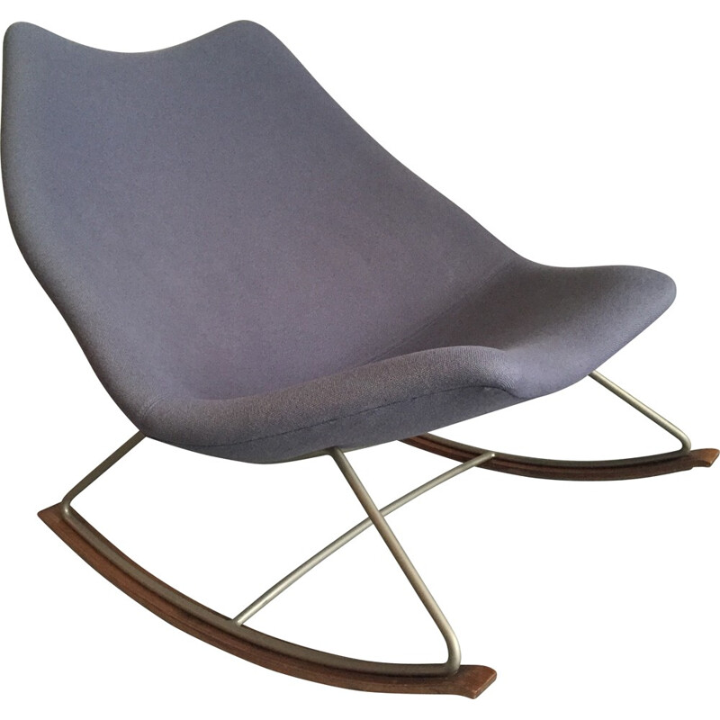"""F595"" rocking chair in blue fabric and steel by Geoffrey HARCOURT for Artifort - 1960s"