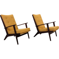 Pair of French Parker-Knoll armchairs in mustard yellow fabric - 1950s