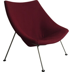 "Artifort ""Oyster"" easy chair in dark purple fabric and steel, Pierre PAULIN - 1960s"