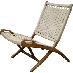 Folding low chair in wood and rope - 1950s