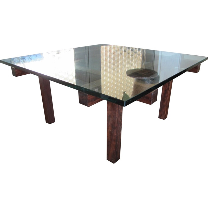 Belgian Belform coffee table in mahogany and glass, Alfred HENDRICKX - 1950s