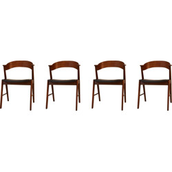 Set of 4 teak and leatherette chairs - 1960s