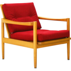 Reupholstered easy chair in beech and red fabric - 1970s