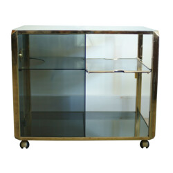 Drink cabinet in glass and metal, Willy RIZZO - 1970s