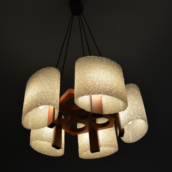 Mid century chandelier in teak and perspex 1960s design market previous next aloadofball Choice Image