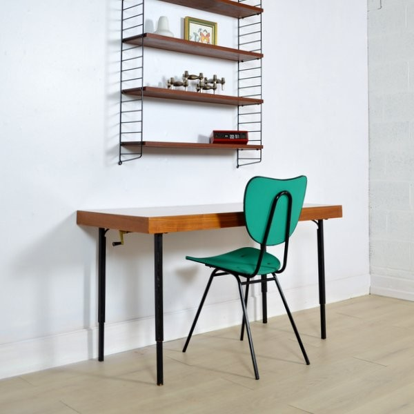Up and down table in wood and metal 1950s design market - Table transformable up down ...