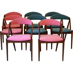 Set of 8 pink and blue chairs, Kai KRISTIANSEN - 1960s