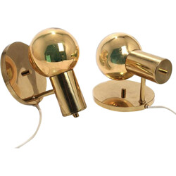 Pair of Spy-ball Frimann wall lamps in brass  - 1970s