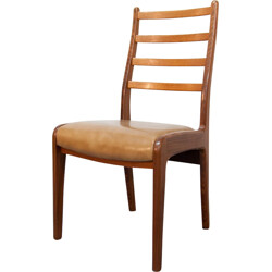 G-Plan chair in brown faux leather and teak - 1960s