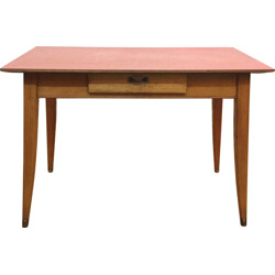 Mid century dining table with red formica top - 1960s