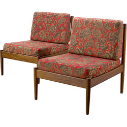 Pair of teak low chairs with patterned fabric - 1970s