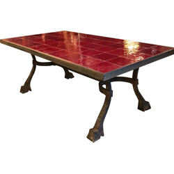 Coffee table in iron and red ceramic - 1940s