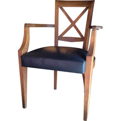 Armchair in oak wood and leather - 1940s