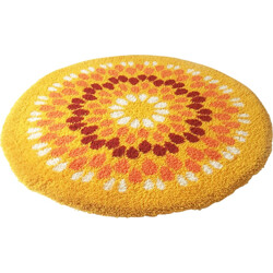 Vintage circular pop art rug on wool - 1970s