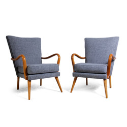 """Pair of H.K Furniture """"Bambino"""" armchairs in beech, Howard KEITH - 1950s"""