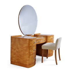 Dressing table in satin birch and stool - 1930s