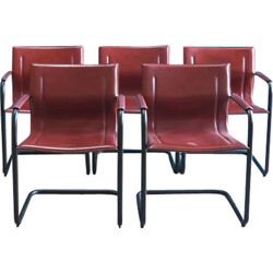 Set of 5 Italian dining chairs in red leather and black metal - 1970s