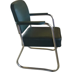 Tubular cantileverd chair in chromed metal - 1950s