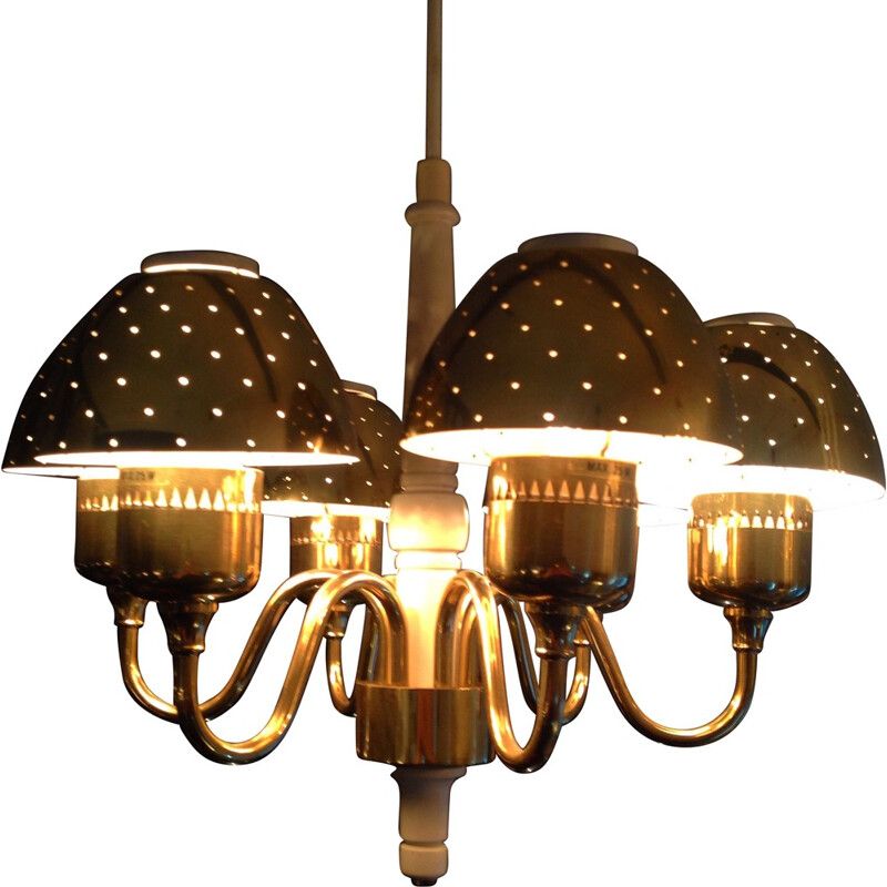 Pair of chandelier in brass, Hans Agne JAKOBSSON - 1970s