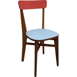 Bistro chair in wood and blue formica - 1960s