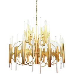 Huge Italian brass and glass chandelier, Gaetano SCIOLARI - 1970s