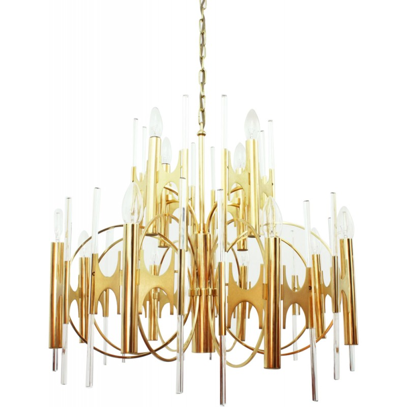 Huge Italian brass and glass chandelier by Gaetano SCIOLARI - 1970s