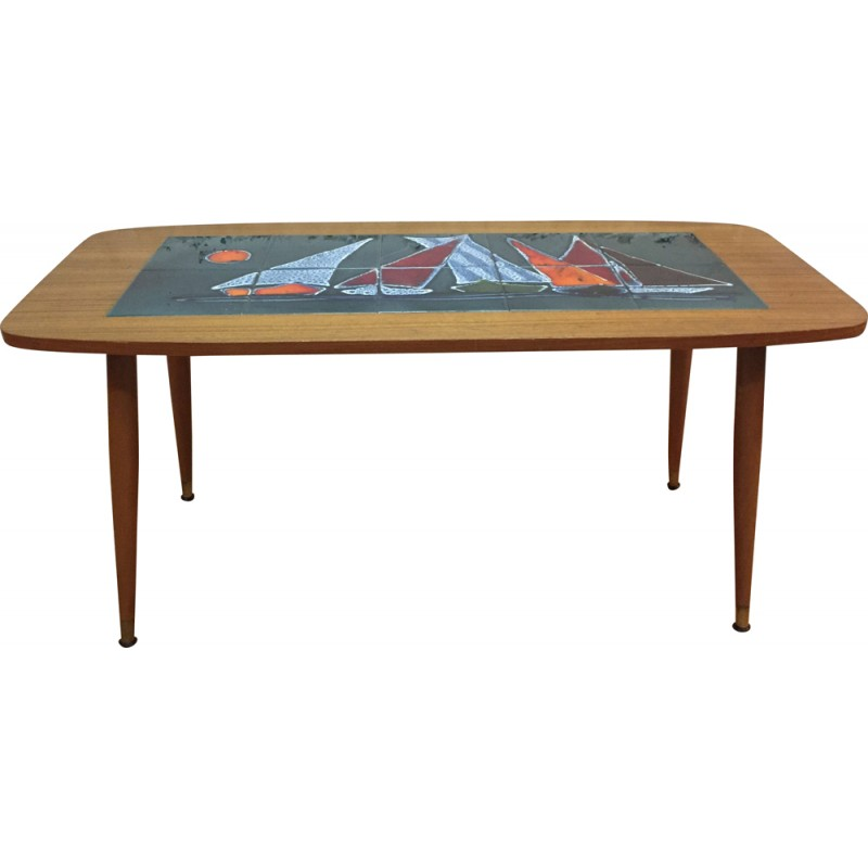 Mid Century Wooden And Ceramic Coffee Table 1960s Design Market