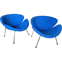 """Pair of Artifort """"Slice chair"""" lounge chairs in blue fabric, Pierre PAULIN - 1990s"""