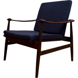 Scandinavian reupholstered armchair in walnut and fabric - 1960s