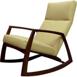 Rocking chair in walnut and yellow fabric - 1960s