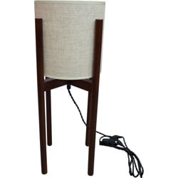 Scandinavian table lampe in walnut and beige fabric - 1980s