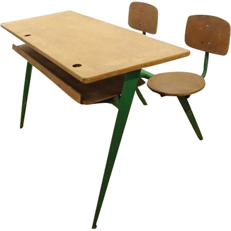 Vintage two-seater desk model 850, Jean PROUVÉ - 1950s