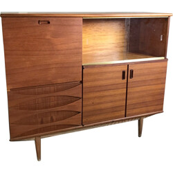 Large cabinet in teak with glass sliding doors - 1960s
