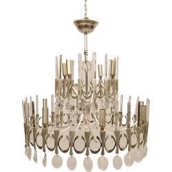 Two tiered chandelier with 12 lights, G. SCIOLARI - 1970s
