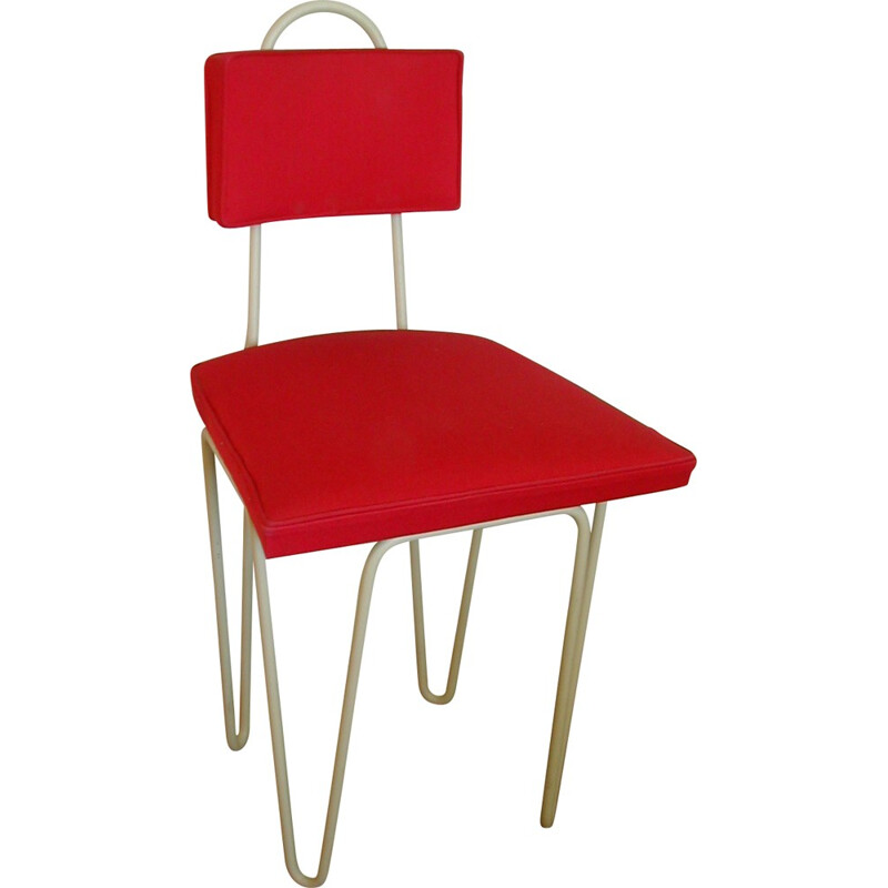 Red chair in beige lacquered metal, Raoul GUYS - 1950s