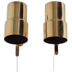 Pair of Swedish AB Markaryd wall lamps in brass, Hans Agne JAKOBSSON - 1970s