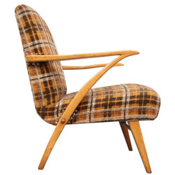 Mid-century armchair in orange and brown fabric - 1950s