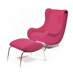 "Pink ""Senior"" armchair with its ottoman, Marco ZANUSO - 1950s"