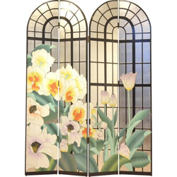 French folding screen with floral patterns - 1960s