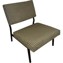 Vintage low chair in metal and fabric - 1950s