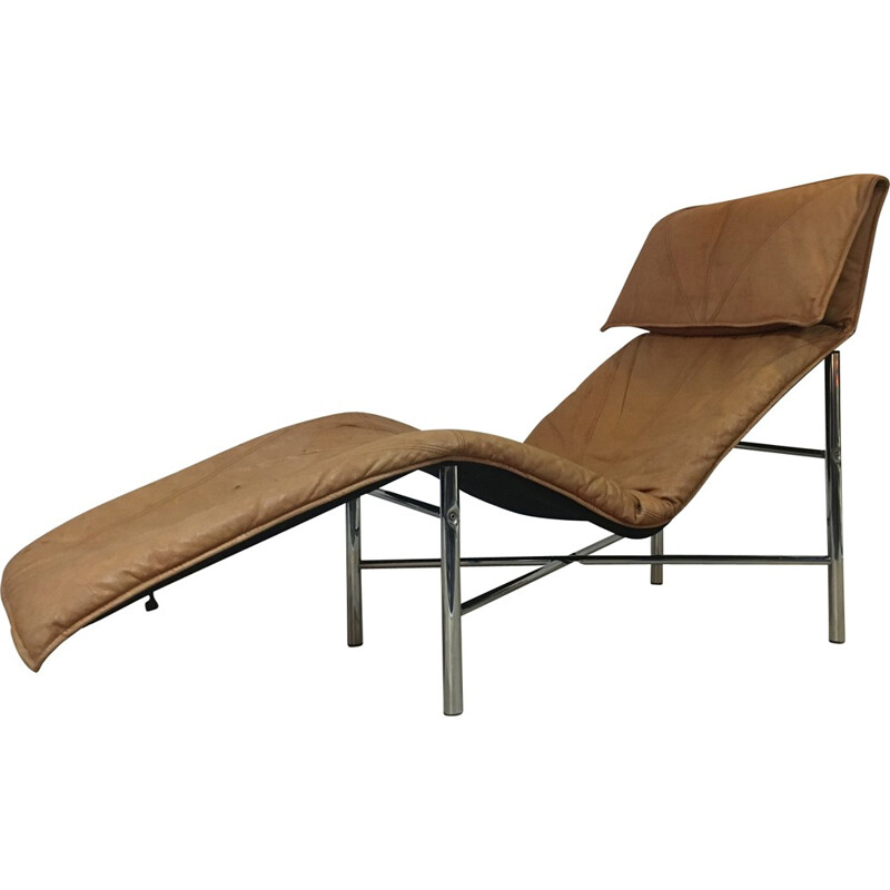 Lounge chair in cognac leather and metal, Tord BJÖRKLUND - 1970s